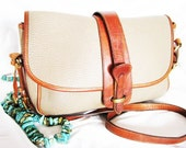 Vintage Dooney & Bourke EQUESTRIAN Purse / All Weather LEATHER / Shoulder Cross Body / Taupe British SADDLE / Pebbled 1980's Solid Brass