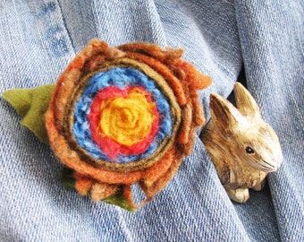 Rose Felt Wool Brooch Flower - SUNNY Fresh - French Country Pin - TREASURY Handmade