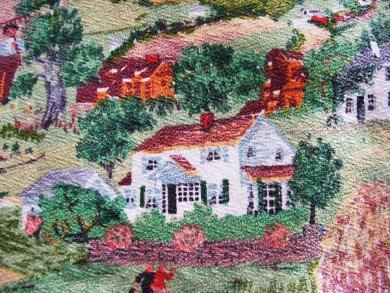 Vintage Barkcloth Fabric - RARE Grandma Moses - 1940's 1950's   HARVEST TIME - Skirt Full Circle - Treasury List