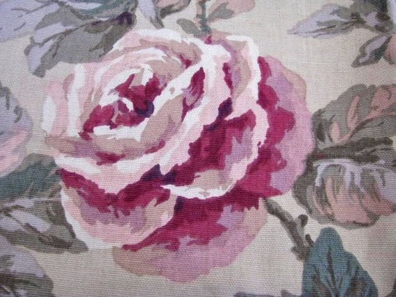 SHABBY COTTAGE  Fabric Lavender  Heather Teals Pinks BEAUTIFUL /// Treasury Item ///  Huge Piece Cotton Heavy Weight