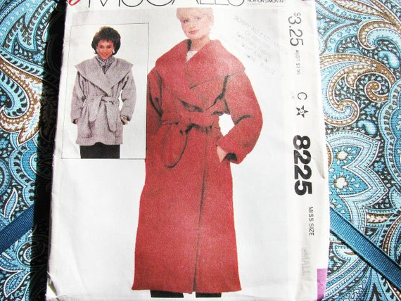 Vintage McCall's 8225 Coat Jacket Robe Chenille EASY //  NEW // Factory Folds //  Sewing  Beginner Friendly Size Small 1982