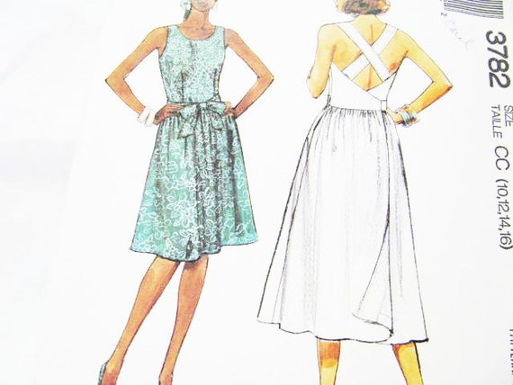 Pattern Dress McCall's 3782 Sewing // SUMMER Easy // NEW Factory Folds // Sz. 10 12 14 16 Beginner Friendly 1988