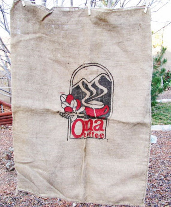 Reserved - SALE - Hemp Burlap COFFEE Bag Large Jute - French Cottage Primitive PRAIRIE - Clean Upcycle