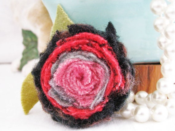 Rose Felt Wool Brooch Flower Spring Romantic RASPBERRY Pink  Aqua Hooking Pin TREASURY Handmade