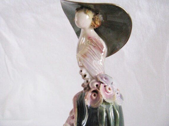 Art  Fired Ceramic LADY  Hat Flowers Victorian Stylized // SIGNED // SHABBY Cottage // Modern European