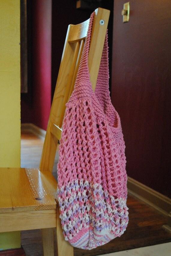 Hand Knit Market Bag - Cotton - Multi color- pink lilac