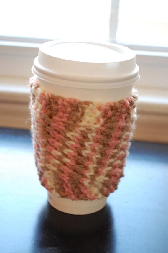 Hand Knitted Coffee Cup Cozy / Sleeve