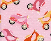 """Timeless Treasures - Mod Scooter - Pink 45"""" 1yd"""
