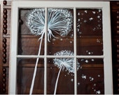 Lovely Vintage Window Painting (dandelion wishes)