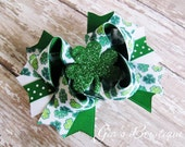 NEW Emerald Green Glitter Shamrock Bow