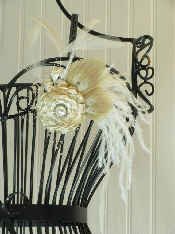 Bridal Hair Accessory, Ivory Peacock Feather Headpiece, ivory and cream, bridal hair accessories, peacock fascinator, Swarovski Crystals