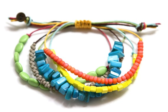 Colorful Waxed Cord Beaded Beachy Bohemian Bracelet