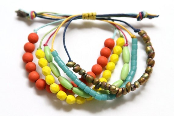 Colorful Waxed Cord Beaded Beachy Bohemian Bracelet