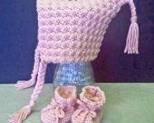 Scandinavian Baby Warm Winter Hood Hat and Bootie Set Crochet Hat and Bootie Set for Baby Girls
