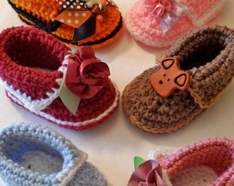 Softee Scootz  PDF Pattern Baby Boy or Baby Girl Crochet Cuffed Double Soled Booties Shoes Slippers