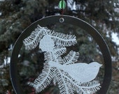 Etched Glass Chickadee Beveled Round with Glass Bead