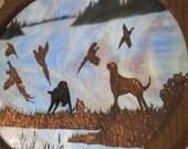 "Stained Glass Copper Overlay - Pheasant Hunt Scene- Bird dogs- ""Royal Flush"""