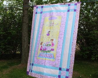 Tea Time for Fairies, Baby Quilt, Nursery Quilt, Fairies, Crib Quilt, Custom Backing