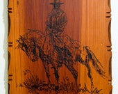 Cowboy and Horse Wooden Plaque
