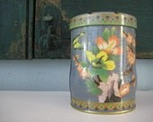 Vintage English Tea Tin Butterflies and Cherry Blossoms