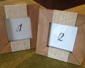 Burlap Wedding Favor Frames, Wedding Table Number Frames or Escort Place Card Frames