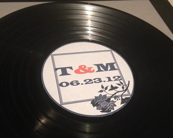 Wedding Labels -LP Vinyl Record Album with Personalized Center Labels