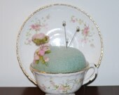 Pincushion -  Needle Felted Vintage Teacup Pincusion Pin Cushion