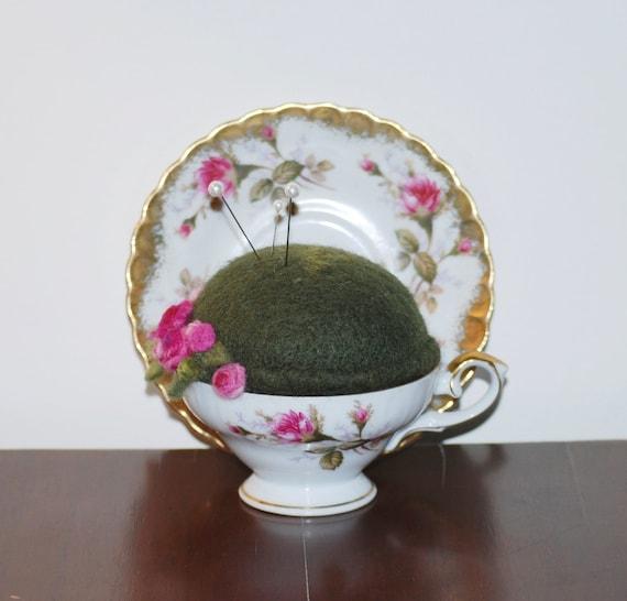Pincushion -  Needle Felted Vintage Teacup Pincusion Pin Cushion