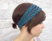 Teal holy headband with button closure