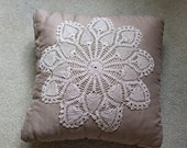 RESERVED FOR AMELIA - Tan Linen Pillow with Vintage Lace Doily 16x16 inches