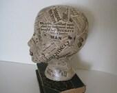 Mannequin Head  - Antique Newspaper 1920s - Display Art Piece - Hat Display