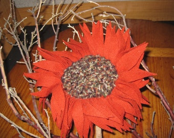 Handmade Wool Flower - Recycled Material
