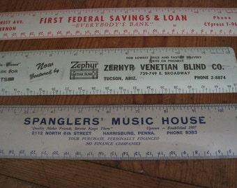 3 Vintage Tin Advertising Rulers - 1950s