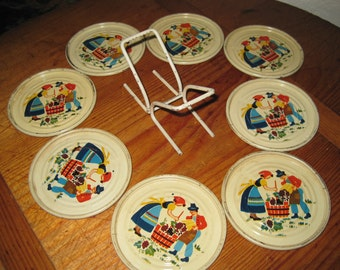 Vintage Tin Coaster Set of 8  with Original Wire Stand - 1950s