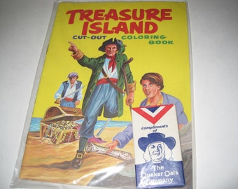 Vintage 1968 Treasure Island Cut-Out and Coloring Book with Crayons - Quaker Oats