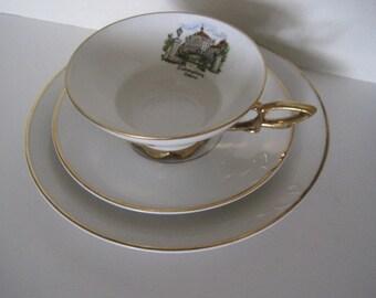 Vintage Cup,Saucer & Plate - Plankenhammer Floss Bavaria Germany - Hand Painted