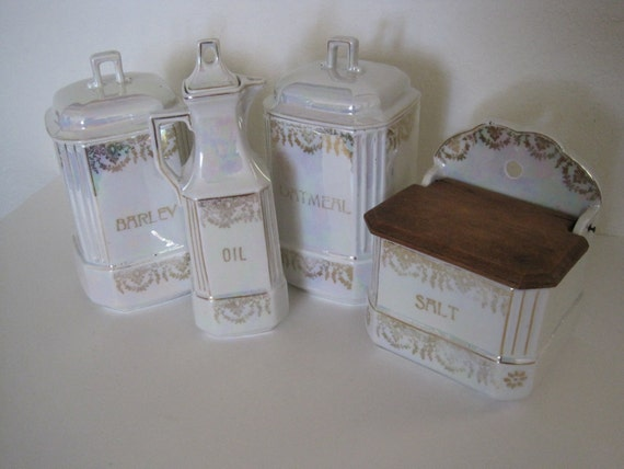 Antique Lusterware Canister Set - Germany