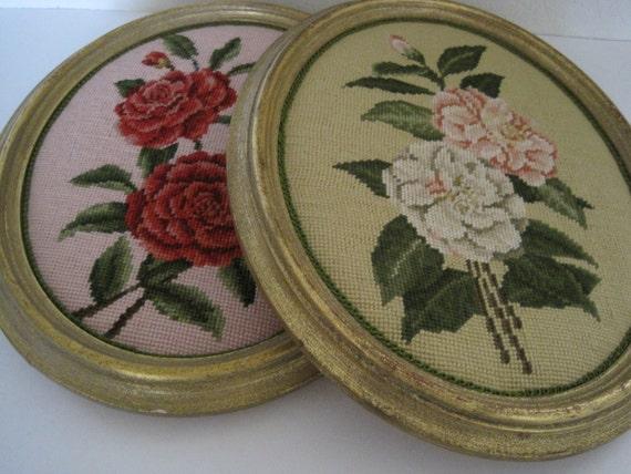 Set of Large Vintage Framed Needlepoint Flowers