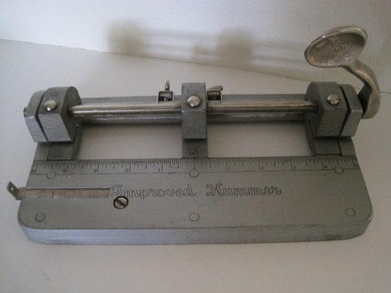Vintage 3 Hole Paper Punch  - Improved Hummer - INDUSTRIAL