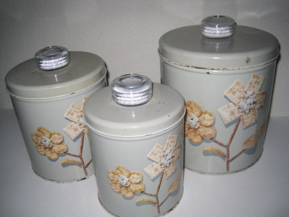 Vintage Krispy Kan Canister Set of 3 with Humidors - Blue Magic  1950's
