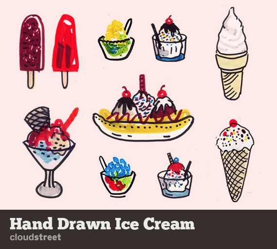 20% OFF Doodle Ice cream clip art for personal and commercial use ( hand drawn ice cream clipart ) INSTANT DOWNLOAD