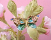 Beautiful Chinese Export Plique-a-Jour Enameled Butterfly Brooch