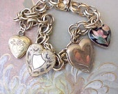 Lovely Vintage Gold Filled Charm Bracelet with Heart Shaped Locket Charms