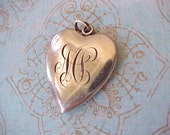 Lovely Art Deco Era Rose Gold Filled Heart Shaped Locket with Beautiful Engraving