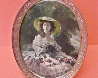 """Beautiful Edwardian Era Easel Back Metal Picture Frame with Charming Print of """"Eugenie"""""""