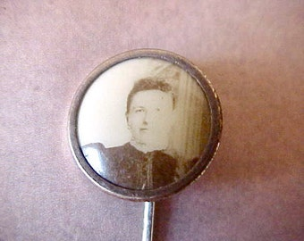 Most Charming Victorian Era Stickpin with Sepia Photo of Handsome Young Woman