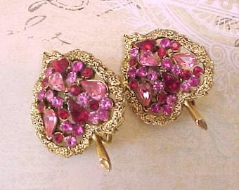 Charming Vintage 1950's Leaf Earrings with Pink Rhinestones