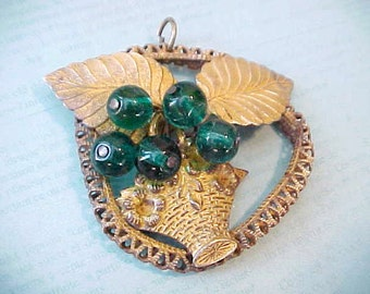 Charming and Unusual Brass Pendant with Green Glass Berries Tumbling From Basket