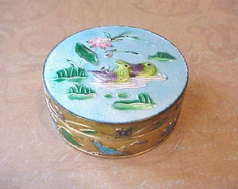 Beautiful Little Antique Chinese Export Enameled Trinket Box with Birds and Flowers