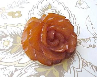 Lovely 1940's Carved Butterscotch Bakelite Rose Pendant